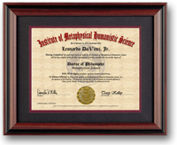 Doctoral Metaphysics PhD Diploma. Elegant, 11 x 14 rosewood frame is optional. Click to enlarge.